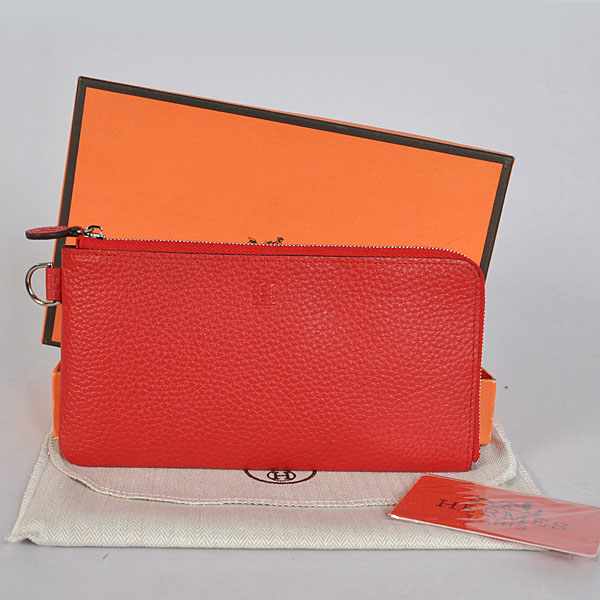 A908 Hermes Zipper Wallet clemence leather in Flame