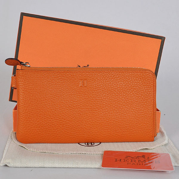 A908 Hermes Zipper Wallet clemence leather in Orange