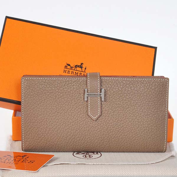 208 Hermes 2 flod original leather wallet in Dark Grey