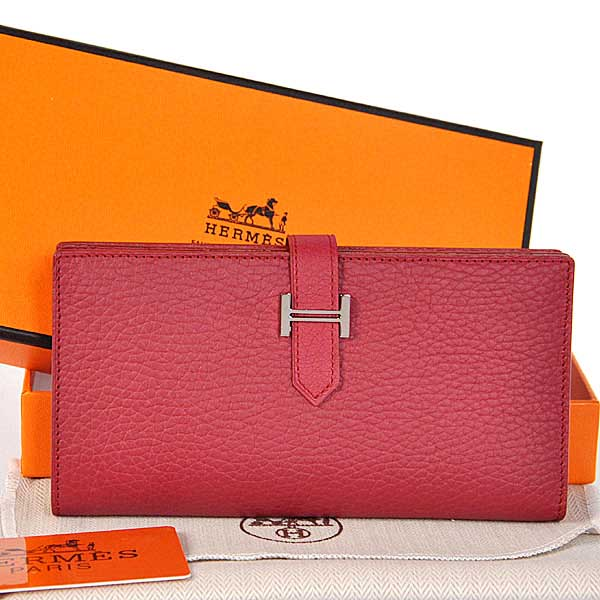 208 Hermes 2 flod original leather wallet in Purplish Red