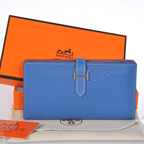 208 Hermes 2 flod original leather wallet in Turkey Blue