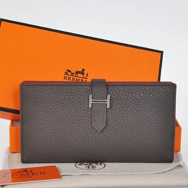 208 Hermes 2 flod original leather wallet in Graphite
