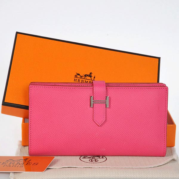 208 Hermes 2 flod original leather wallet in Peach
