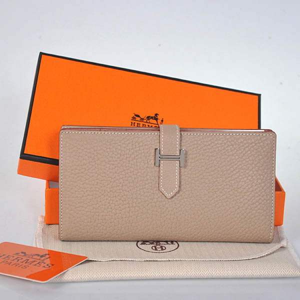 208 Hermes 2 flod original leather wallet in Light grey