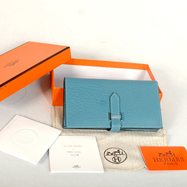 8022 Hermes 2 flod original leather wallet in Medium Blue