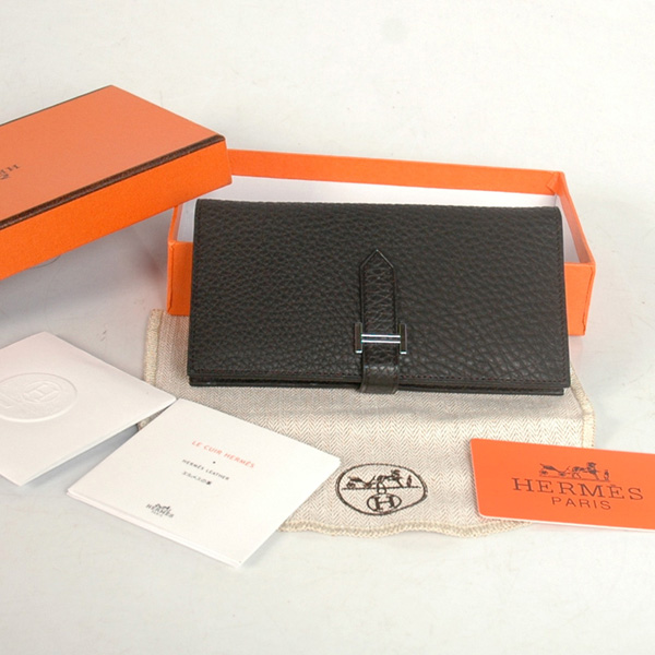 8022 Hermes 2 flod original leather wallet in Black