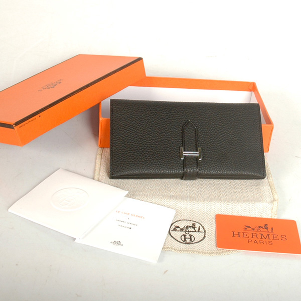 8033 Hermes 3 flod original leather wallet in Black