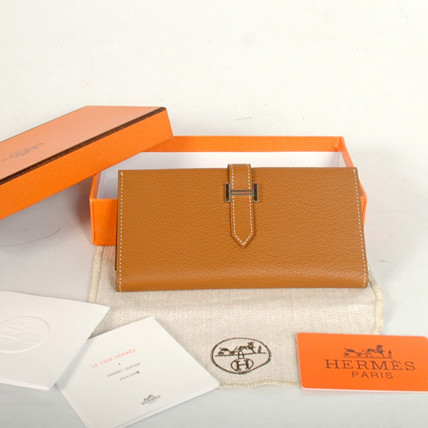 8033 Hermes 3 flod original leather wallet in Camel