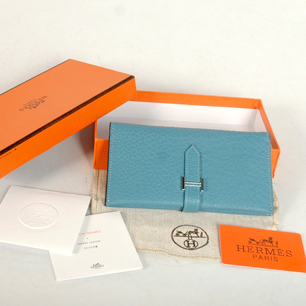 8033 Hermes 3 flod original leather wallet in Medium Blue
