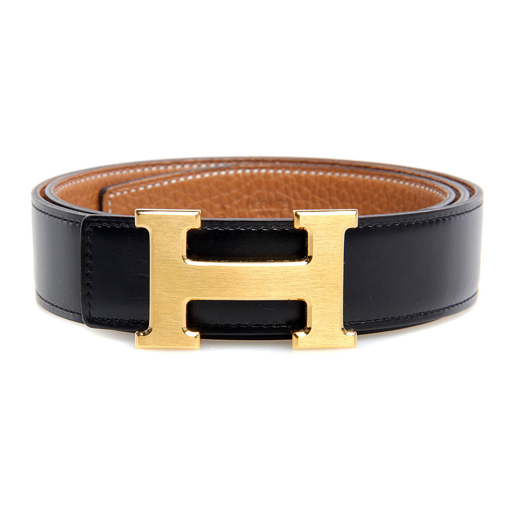 H1002 Hermes belt leather in Black/Camel with H Gold Buckle