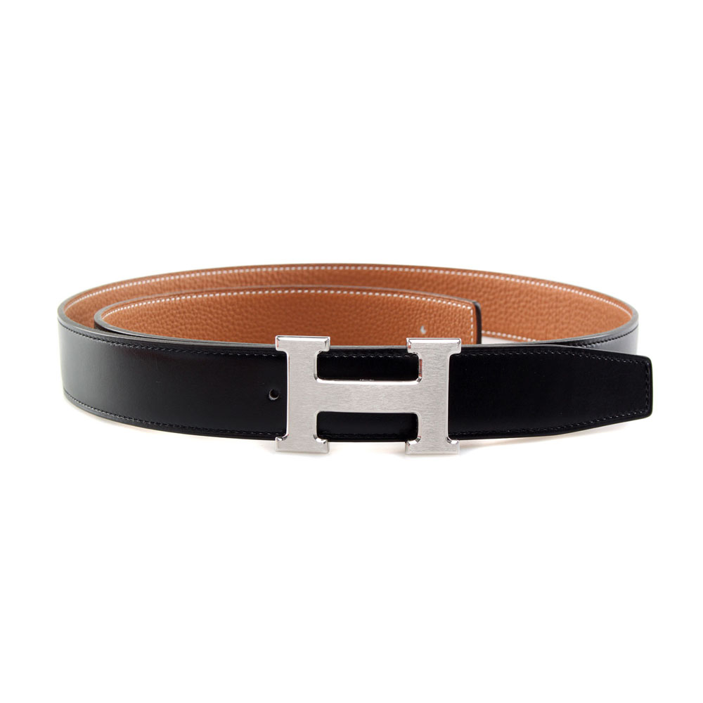 H1002 Hermes belt leather in Black/Camel with H Silver Buckle