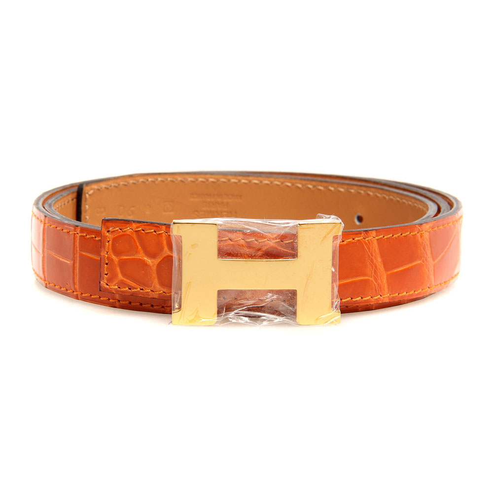 H1002 Hermes belt leather in Brown/Medium with H Gold Buckle