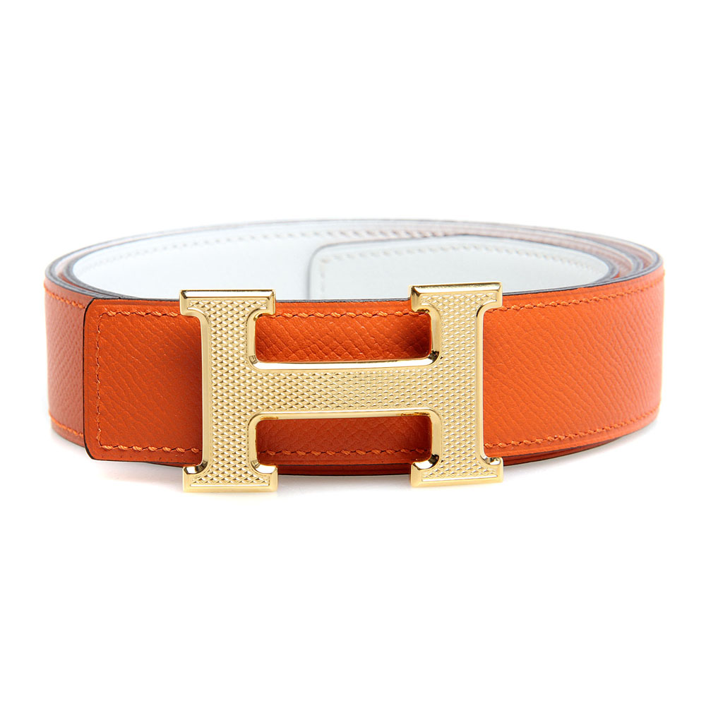 H1002 Hermes belt leather in Camel/Dark Grey with H Silver Buckle
