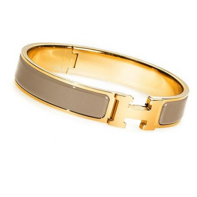 Hermes Gold Plated H Narrow Bracelet with Taupe Enamel