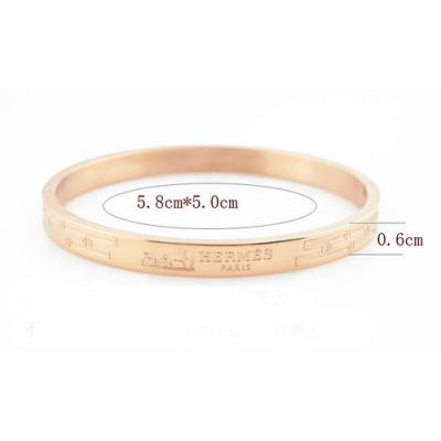 Hermes Rose Gold Plated H Narrow Bracelet