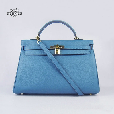 6308 Hermes Kelly 35cm Togo Leather Bag Blue 6308 Gold Hardware