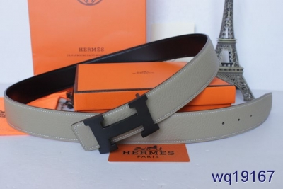 Discount Grey Hermes Belt with Black H Buckle Mens Sale