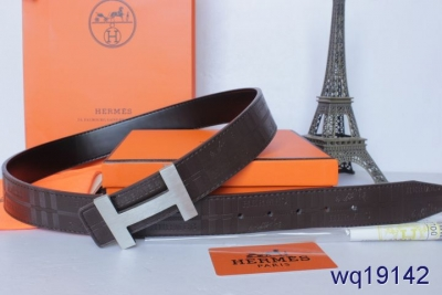 Amazing Mens Chocolate Belt Hermes with Silver H Buckle Wholesal
