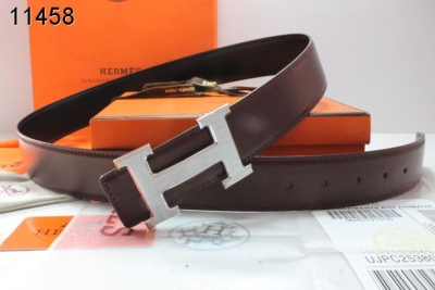 Brand Hermes with Silver H Buckle Belt Mens Chocolate UK