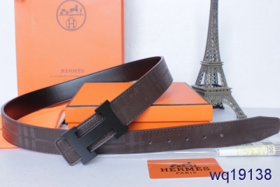 Hot Chocolate Belt Mens with Black H Buckle Hermes