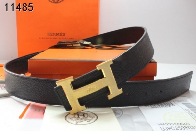 Amazing with Golden H Buckle Mens Hermes Black Belt Wholesale