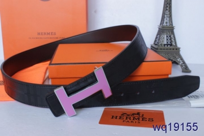 Black Hermes Belt Mens with Pink H Buckle For sale