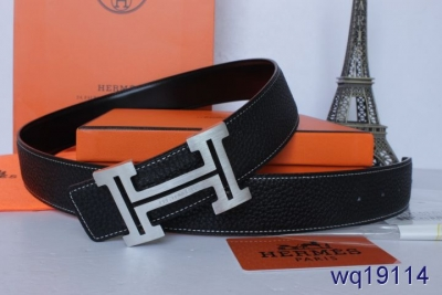 Black Hermes Belt with Silver H Buckle Mens Deals