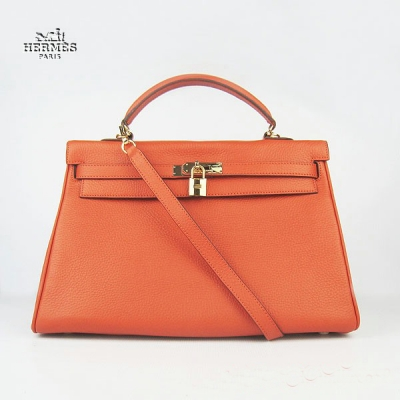 6308 Hermes Kelly 35cm Togo Leather Bag Orange 6308 Gold Hardware