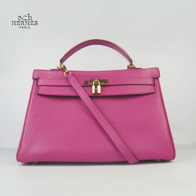 6308 Hermes Kelly 35cm Togo Leather Bag Peachblow 6308 Gold Hardware