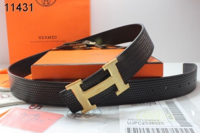 Fashion with Golden H Buckle Mens Belt Black Hermes Sale