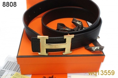 Featured Hermes Belt with Golden H Buckle Black Mens