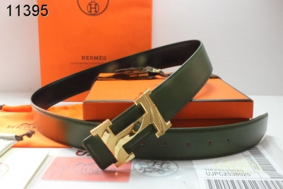 Fashionable Mens Black Hermes Belt with Golden H Buckle Promote
