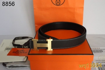 Good Belt Mens Black Hermes with Golden H Buckle