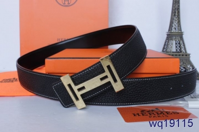 Personalised Mens Black with Golden H Buckle Hermes Belt