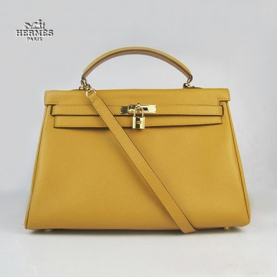 6308 Hermes Kelly 35cm Togo Leather Bag Yellow 6308 Gold Hardware