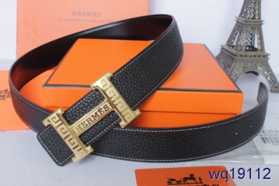 Original Hermes Belt with Golden H Buckle Mens Black