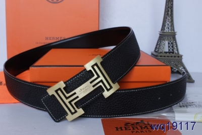 Personalized Hermes Mens Belt with Golden H Buckle Black