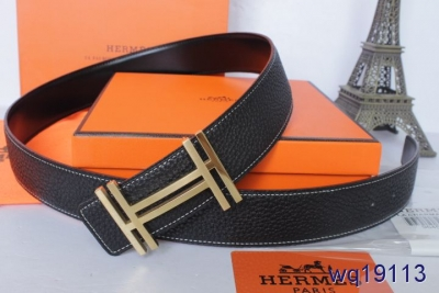 Perfect Black with Golden H Buckle Hermes Mens Belt