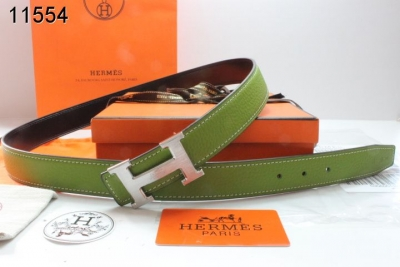 Hermes Belt with Silver H Buckle Green Womens Wholesale