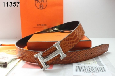 Luxury Mens Hermes Brown Belt with Silver H Buckle
