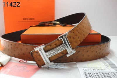 Perfect Mens Hermes with Silver H Buckle Brown Belt
