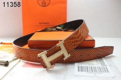 Specializing Mens with Golden H Buckle Hermes Belt Brown