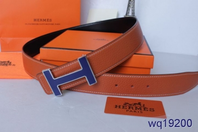 Cheap Orange with Blue H Buckle Hermes Mens Belt On sale