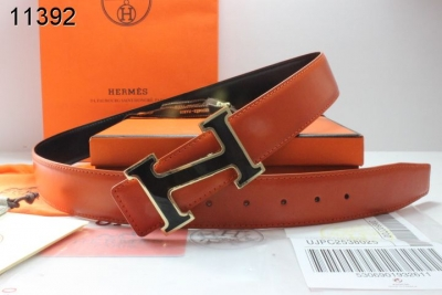 Buy Hermes Orange Mens with Black/Silver H Buckle Belt