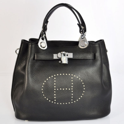 8388BS Hermes Mini so kelly bag in Black with Silver hardware