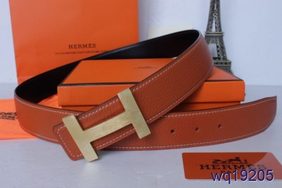 Fashionable Belt Orange with Golden H Buckle Mens Hermes For sal