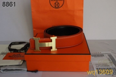 Fashionable Hermes Orange Mens Belt with Golden H Buckle Deals