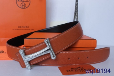 New Mens with Silver H Buckle Hermes Belt Orange Affordable