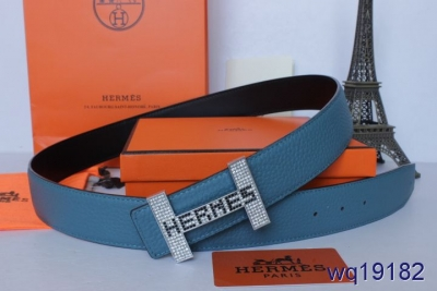 New Hermes with Silver H Buckle Blue Mens Belt Online