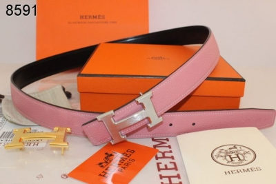 Pink Womens Belt with Silver H Buckle Hermes Inexpensive